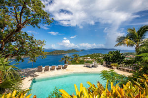 pool with water view from a luxury st. thomas home